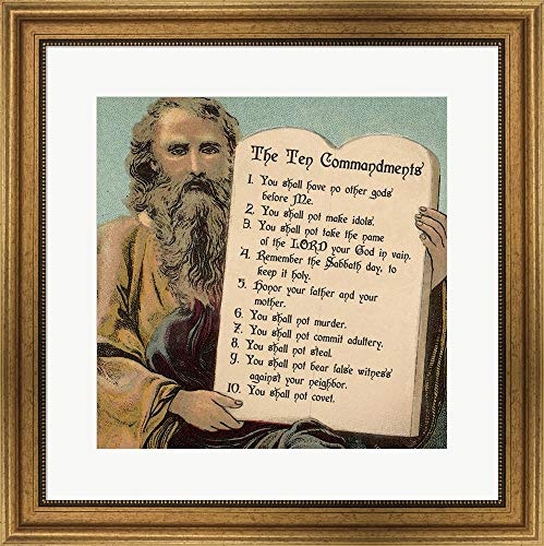 Tablets of The Ten Commandments by Veruca Salt Framed Art Print Wall Picture, Wide Gold Frame, 24 x 24 inches ()