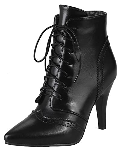 Women's Sexy Lace Up Dressy Pointed Toe Ankle Boots Stiletto High Heel Baroque Booties