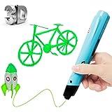 Uvistare 3D Drucker Stift Set 3D Stereoscopic Printing Pen Drawing, 3 x 3M PLA Filament ( Blau Rot Gelb ), Intelligent mit LCD-Bildschirm, Freihand 3D Zeichnungen, für Kinder Erwachsene Kunstwerken