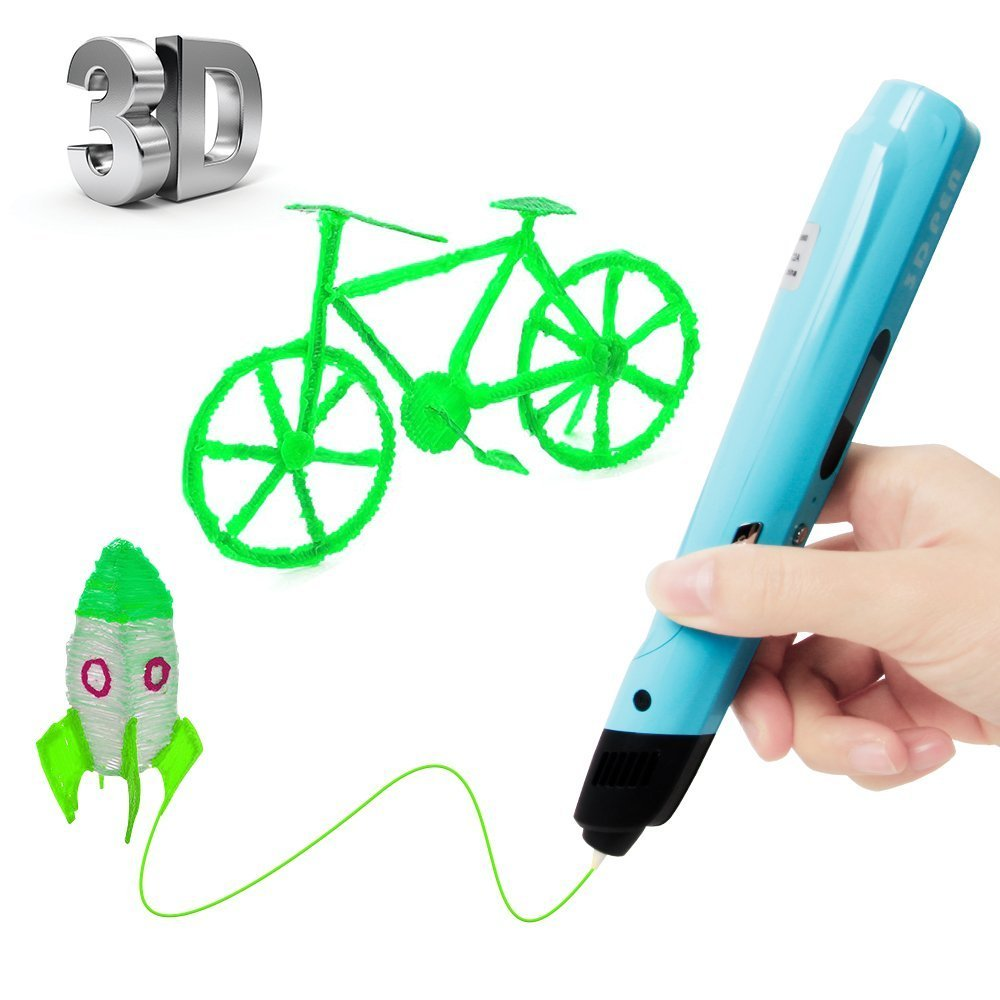 Uvistare 3D Drucker Stift Set 3D Stereoscopic Printing Pen Drawing, 3 x 3M PLA Filament ( Blau Rot Gelb ), Intelligent mit LCD-Bildschirm, Freihand 3D Zeichnungen, fü r Kinder Erwachsene Kunstwerken win-tinten
