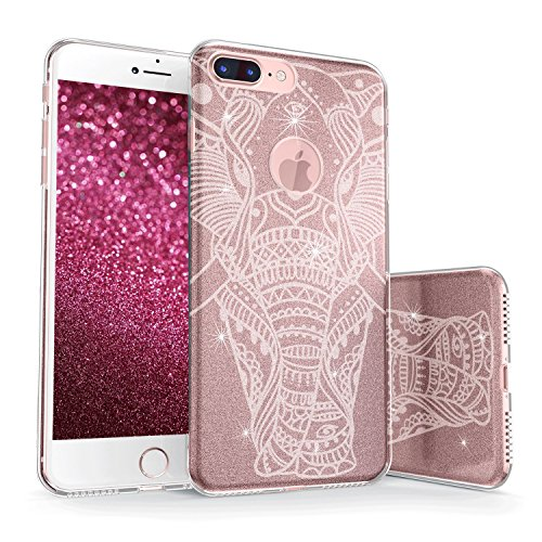 True Color Case Compatible with iPhone 8 Plus Glitter Case, Sparkase Sparkly Ornamental Elephant Print Three-Layer Hybrid Girly Case with Shockproof TPU Outer Cover on - White on Rose Gold
