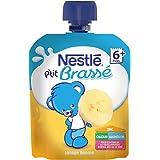 Nestlé Bébé P'tit Brassé Banane - Laitage dès 6 mois - 1 gourde 90g - Lot de 16