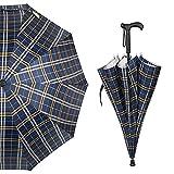 Guoke The Cane, Long Handle Double Fine Rain-Rugged Wind Resistant Slip-Elderly Gift Umbrella, Yellow, Blue,