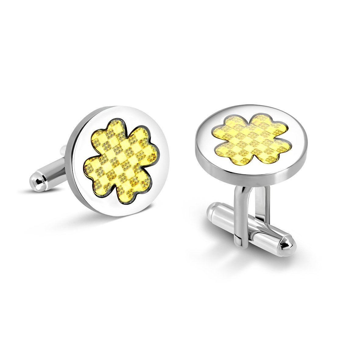 Stainless Steel 2 Color Grid/ Checker Love Heart Shamrock Flower Circle Cufflinks (pair)