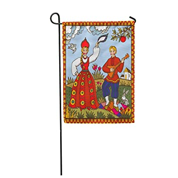 Semtomn 28x 40 Garden Flag Russian Folk With Dancing Woman And Man Made