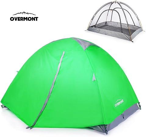 Overmont Tienda de campaña iglú Familiar Impermeable, 1-2 Personas, 4 Temporadas, 210 * 140 * 115cm, con Doble Capa y mosquitera, para Camping Picnic ...