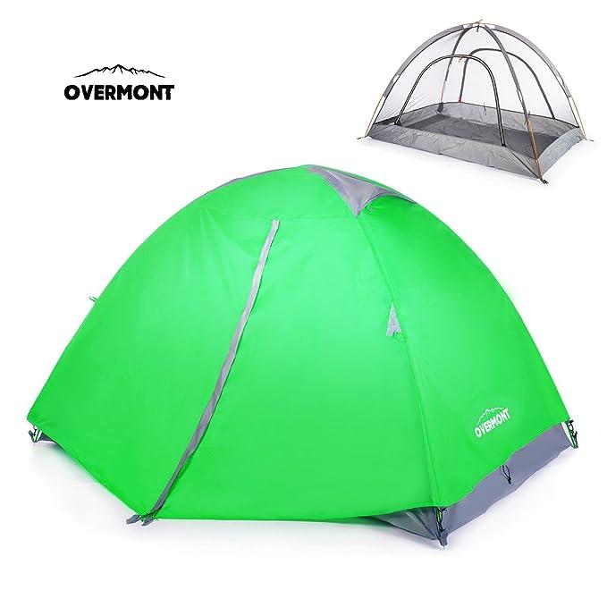 Overmont Tienda de campaña iglú familiar impermeable, 1-2 personas, 4 temporadas, 210*140*115cm, con doble capa y mosquitera, para camping picnic ...