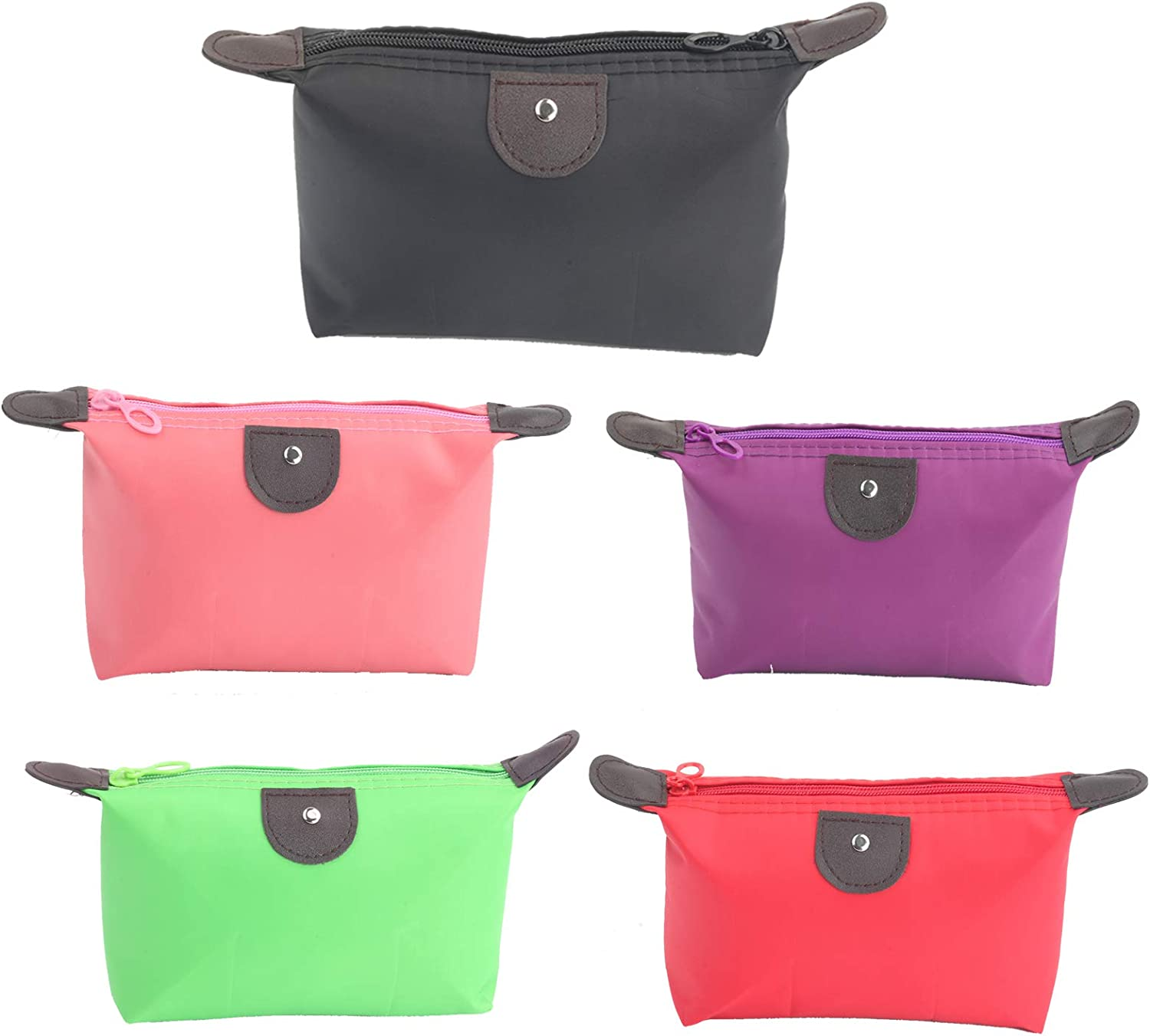 5PCS Cute Small Makeup Bags for Purse, Waterproof Mini Zipper Cosmetic Bags, Luggage Accessories for Travel (5PCS Style 1)