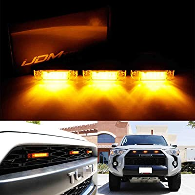 iJDMTOY 3pc Amber LED Center Grille Marker Lights Compatible With 2014-up Toyota 4Runner or 2012-up Toyota Tacoma TRD Pro (Amber Lens, 6-LED, Come w/ Wiring and Hardware): Automotive