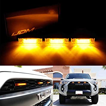 Fits 14-up 5th 4Runner {DIY} Full Amber Grill Grille LED Light Central Pack of 3