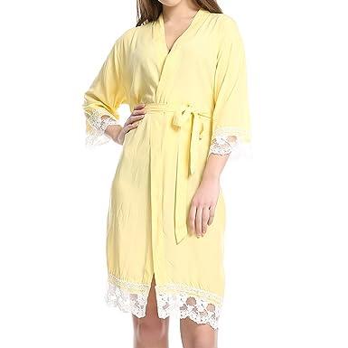 Juleya Nuevo Algodón Sólido Túnicas Kimono con Ajuste de Encaje ...