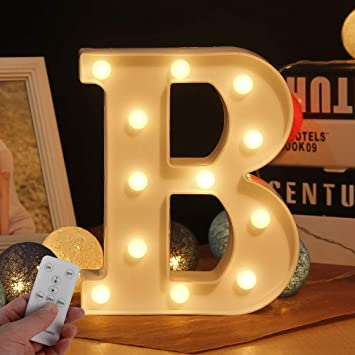 Light Up Letters Light With Remote Led Marquee Letter Lights Alphabet In Wall Decor Night Lights For Bedroom Wedding Party Birthday Christmas Lamp Home Bar Decoration Letter Up B Amazon Com