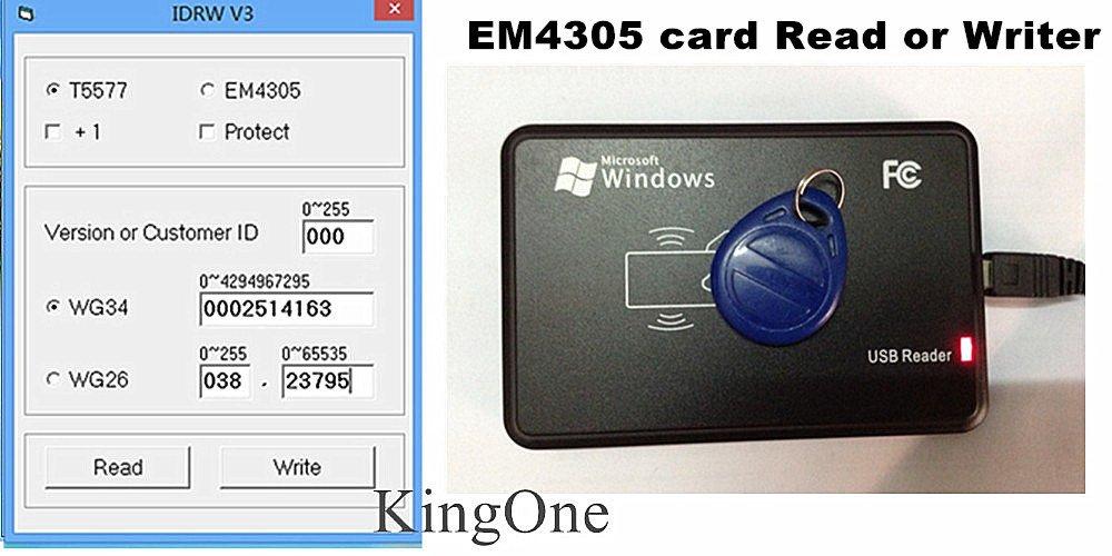 USB 125Khz RFID EM4305 T5567 Card Reader/Writer Copier/Writer programmer  burner+5pcs Rewritable tags
