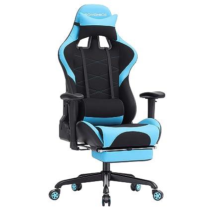 Mit ArmlehnenSportsitz Songmics Bürostuhl Rcg52bu Stuhl Schreibtischstuhl Optik Schwarz Blau Gaming 7ybvf6gY