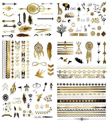 Minimalist Gold Metallic Temporary Tattoos - Over 125 Tattoo Designs Gold Black Silver (6 Sheets) Terra Tattoos Addison Collection -