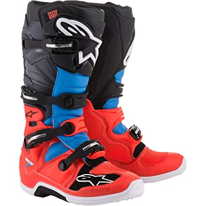 good looking new selection skate shoes Alpinestars Tech 7 Boots-Red Flo/Cyan/Gray/Black-10