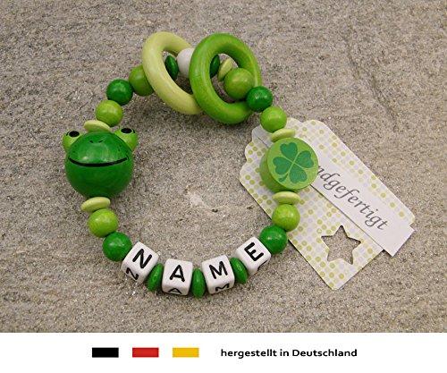 Baby Greifling Beißring geschlossen mit Namen | individuelles Holz Lernspielzeug als Geschenk zur Geburt & Taufe | Mädchen & Jungen Motiv Frosch in grün