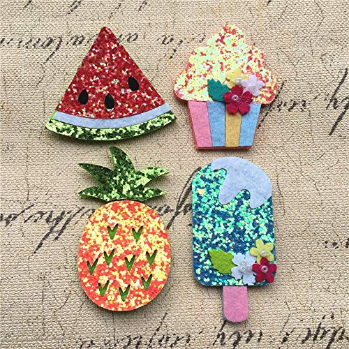 30Pcs Bling Felt Wool Fabrics Watermelon Ice Cream Cup Cake Fruit Button Buckle Cloth Patch Stickers