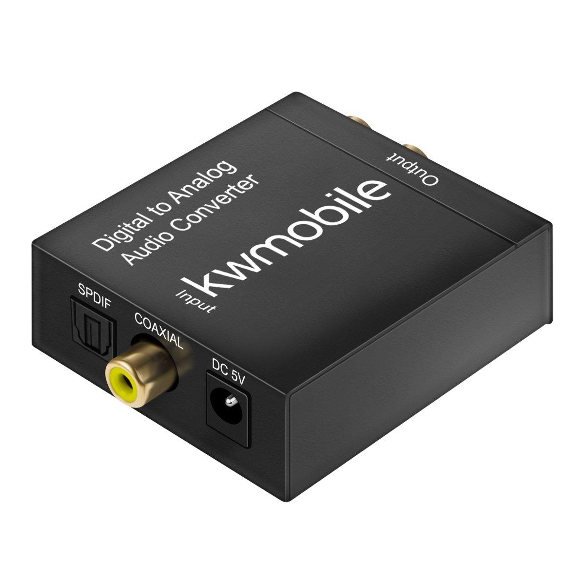 SPDIF//Toslink///óptico//Koaxial Conector TRS kwmobile conversor de Audio anal/ógico Digital De Digital a anal/ógico