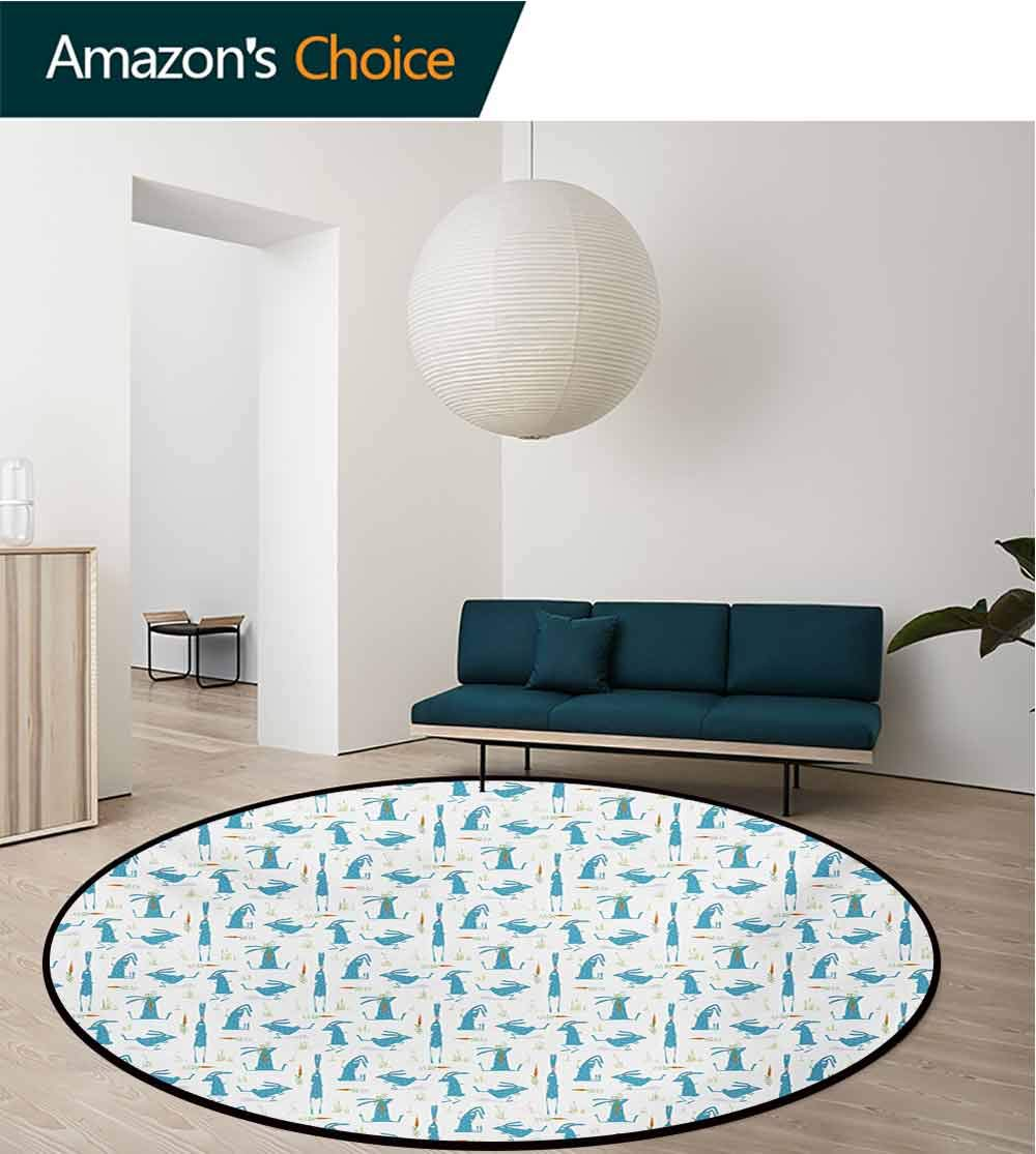 RUGSMAT Rabbit Round Rug,Bunny with Carrot Funny Cheerful Rodent Pattern Running Jumping Sitting Carpet Door Pad for Bedroom/Living Room/Balcony/Kitchen Mat,Diameter-59 Inch Orange Blue and Green by RUGSMAT (Image #2)