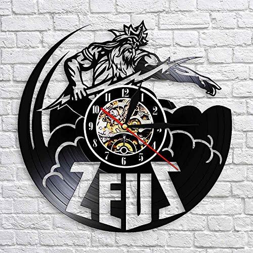 GUABOHHY Statue Wall Clock Vintage Vinyl Clocks Greek Mythology Decor Zeus Sculpture Decor Greek Gods Figurine Gift for Men