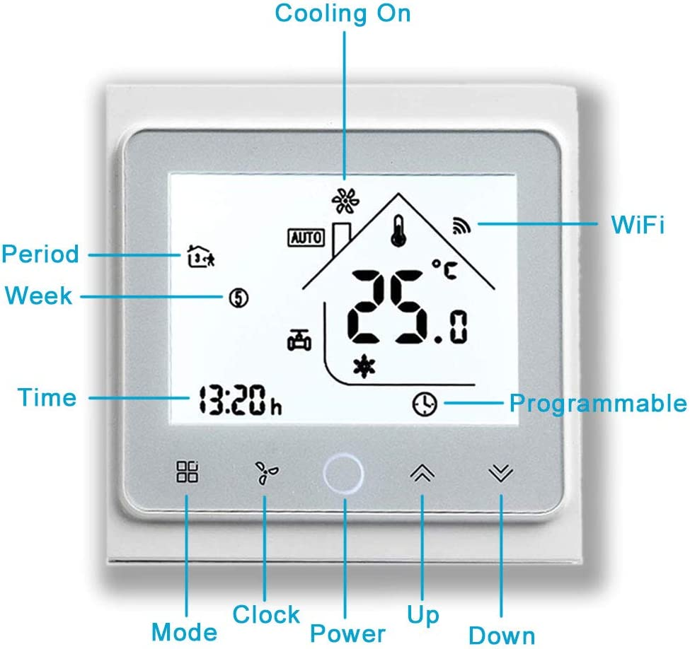 Arxus Series 002 WiFi//Touch Programmable Smart Thermostat LCD Display Temperature Controller for Water//Electric//Boiler Heating//Air Conditioning Work with Alexa Google Home IFTTT