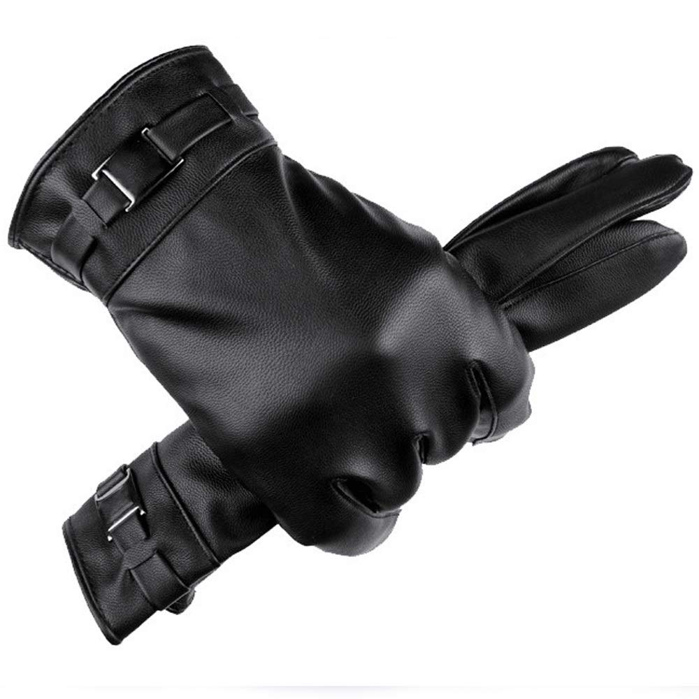 Black Gloves QARYYQ Mens Winter Plus Velvet Warm Touch Screen Windproof Cold Riding Outdoor Leisure Riding Gloves