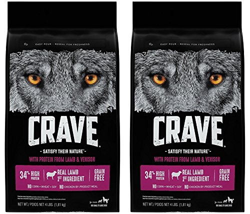 Crave Grain Free Adult Dry Dog Food With Protein From Lamb and Venison, 4 lb (Pack of 2)