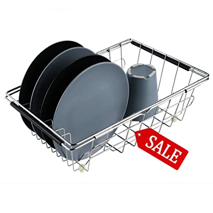 10f02e4eea2a VOXXOV Dish Rack in Sink - Sink Dish Drying Rack - Adjustable over Sink  Dish Drying