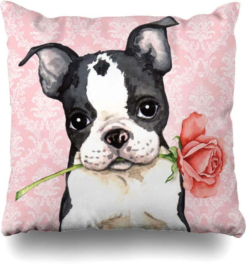 """Suesoso Decorative Cushion Pillows Case, 16"""" X 16"""" Boston Terrier Dog Pattern Home Decor Indoor Throw Pillow Cover Cases Sofa Bed Car Living Boston Terrier Dog Pattern"""