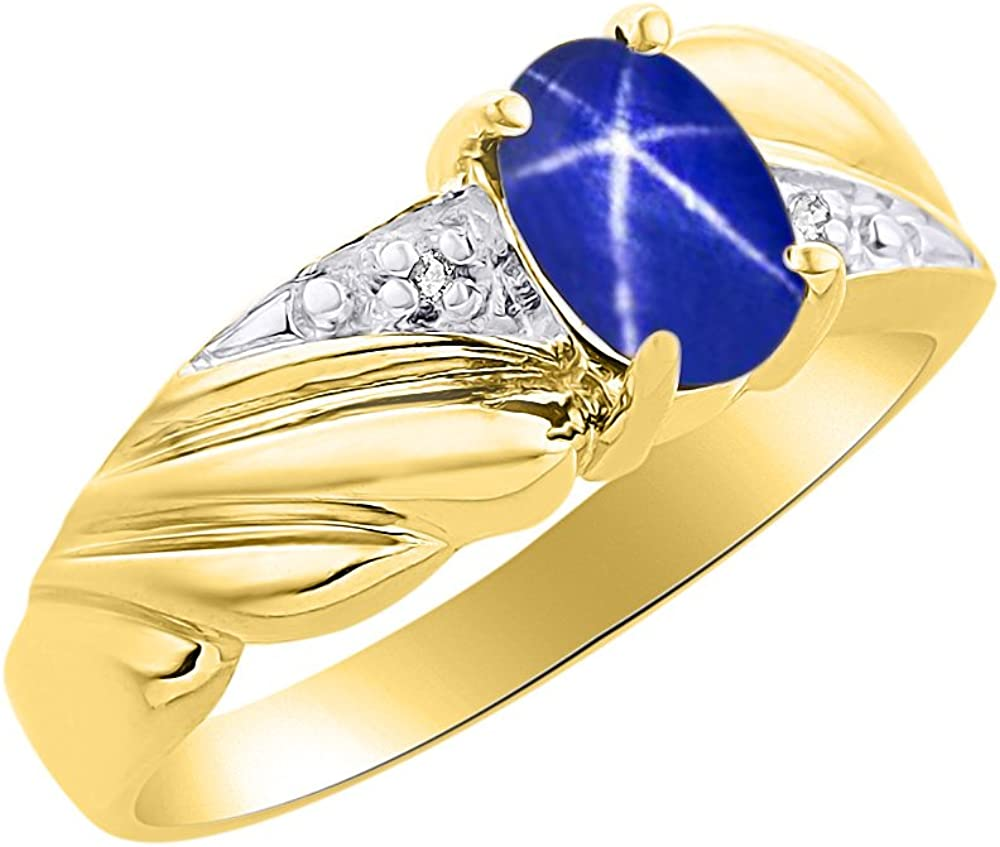 Diamond /& Blue Star Sapphire Ring Set In Yellow Gold Plated Silver Color Stone Birthstone