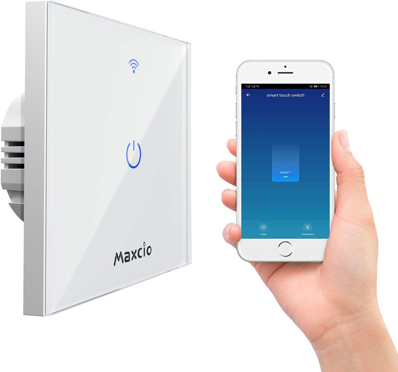 Interrupteur Connecté WiFi, Maxcio Interrupteur Mural WiFi de Lumière Compatible avec Alexa et Google Home, Interrupteur Intelligent avec Écran Tactile, Timer et Partager (Ligne Neutre Requis)