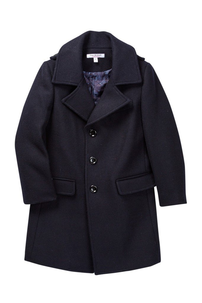 Isaac Mizrahi Boy's Single Breasted Wool Overcoat With Epaulets - Colors CT1013
