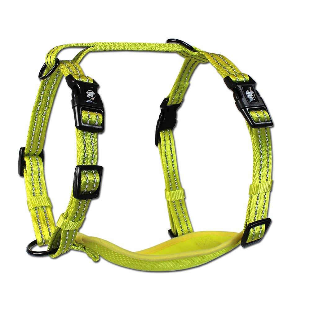 Flexi Alcott Essentials Visibility Adventure Pet Harness, Medium, Neon Yellow Nylon with Reflective Accents