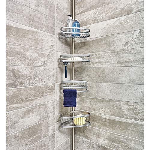 iDesign York Metal Wire Tension Rod Corner Shower Caddy, Adjustable 5'-9' Pole and Baskets for Shampoo, Conditioner, Soap with Hooks for Razors, Towels, Silver
