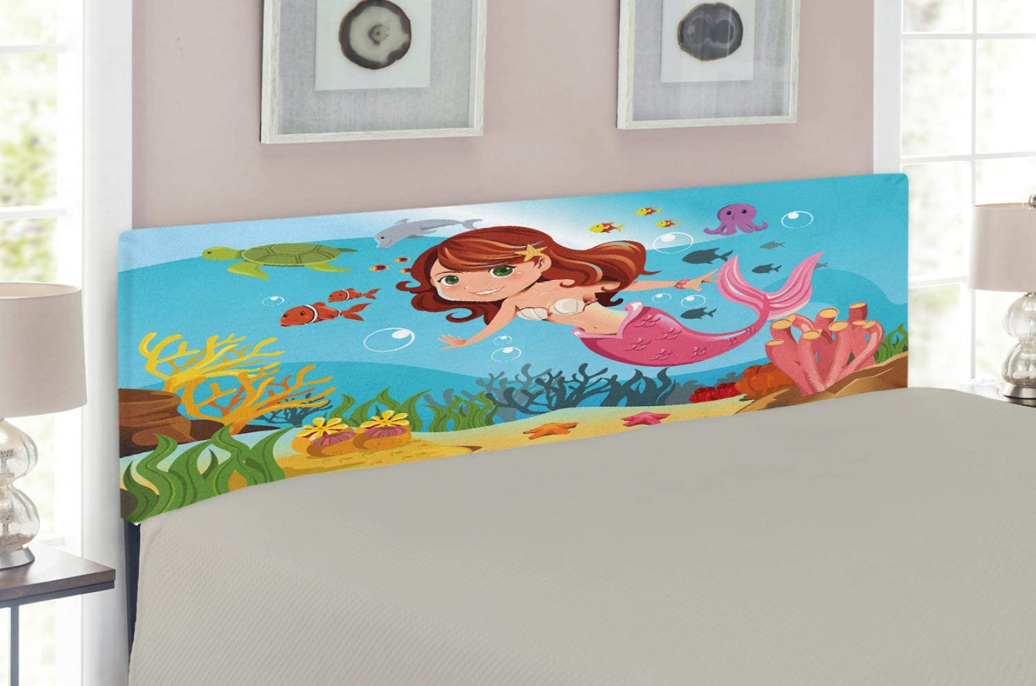 Ambesonne Underwater Headboard, Fairy Mermaid Swimming Underwater in The Ocean Smiles Cheerful Happiness Theme, Upholstered Decorative Metal Bed Headboard with Memory Foam, Queen Size, Blue Pink