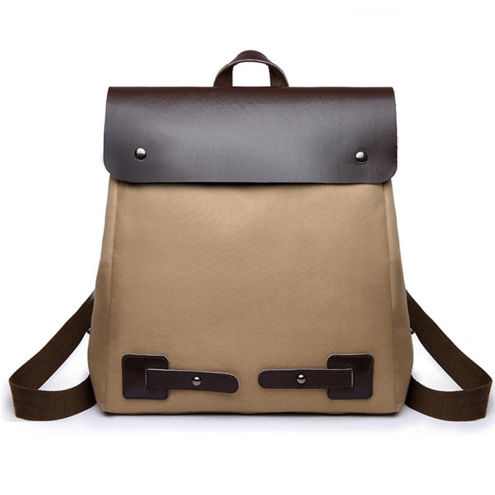 Chartsea Vintage Women Girls Student Patchwork Canvas Shoulder Bag School Bag Tote Backpack (Brown)