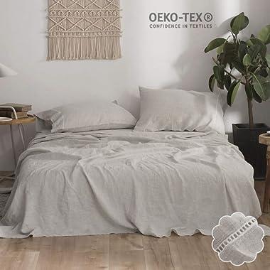 Simple&Opulence 100% Pure Linen Bed Sheet Set King 4pcs Luxury Flax Bedding Set Hemstitch Design