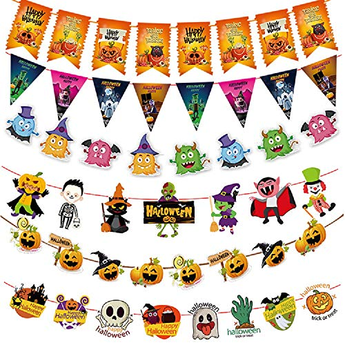 Set of 6 Halloween Banner Flags for Halloween Party Deoration Supply -