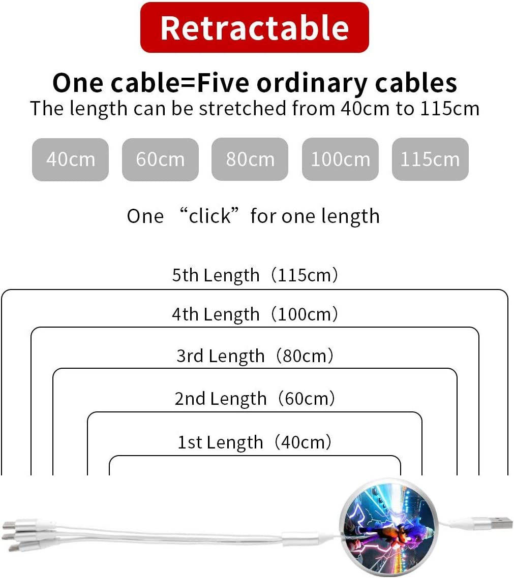N//C Sonic3-In-1 Telescopic Multi-Function Charging Cable Suitable for Apple Tpye-C Universal Interface Android Etc.