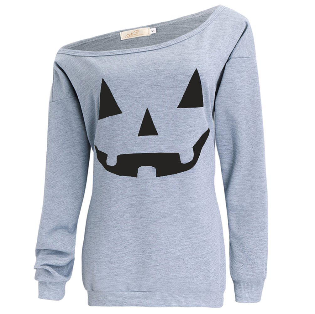 lymanchi Women Slouchy Shirts Halloween Pumpkin Long Sleeve Sweatshirts Pullover