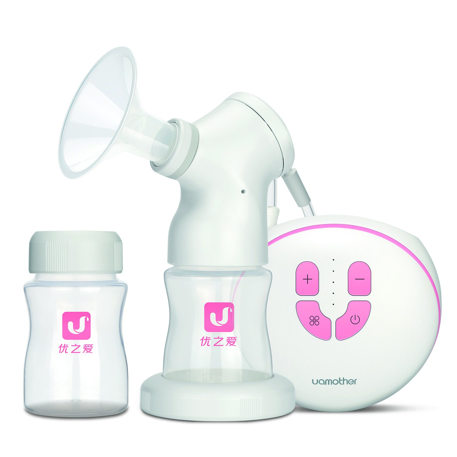 Electric Breast Pump with Vacuum Lid for Baby Feeding's Breastmilk Vacuum Preservation in White/Pink by Maternal-Baby Uamother U802