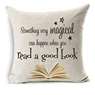 Bnitoam Something Very Magical can Happen When You Read a Good Book Cotton Linen Throw Pillow Covers Case Cushion Cover Sofa Decorative Square 18 x 18 inch (1)
