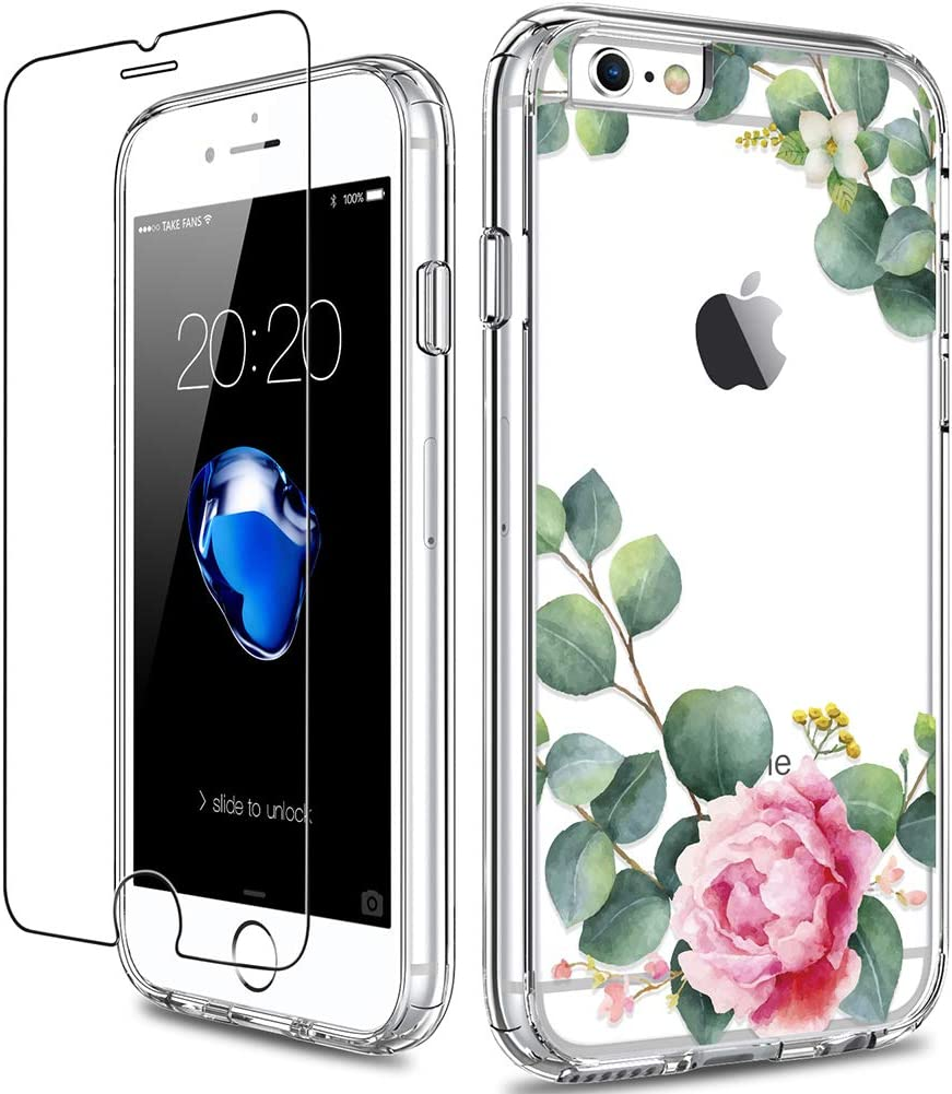 GiiKa iPhone 6 6s Case with Screen Protector, Clear Heavy Duty Protective Case Floral Girls Women Shockproof Hard PC Back Case with Slim TPU Bumper Cover Phone Case for iPhone 6s, Camellia