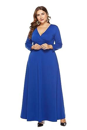 0d3c6b71037f5 Gloria Sarah Women s Solid V-Neck 3 4 Sleeve Plus Size Evening Party Maxi  Dress
