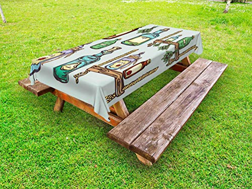 Ambesonne Apothecary Outdoor Tablecloth, Retro Alchemy Magic Craft Elixir Herbal Cure Chemists Halloween Recreation Theme, Decorative Washable Picnic Table Cloth, 58 X 120 Inches, -
