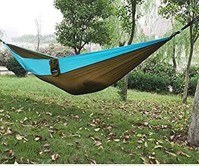 The Best Parachute Double Hammock On Amazon, High Quality Lightweight Gear For Camping, Backpacking & Travelling, Easy To Install, Super Strong Material ,Straps & Carabiners Included With Each Hammock (4 colors to choose)