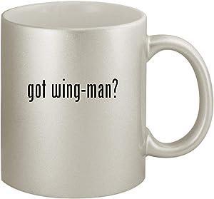 got wing-man? - Ceramic 11oz Silver Coffee Mug, Silver