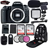 Canon EOS 77D DSLR Camera (Body Only) + LED Light + Microphone + Video Accessory Bundle