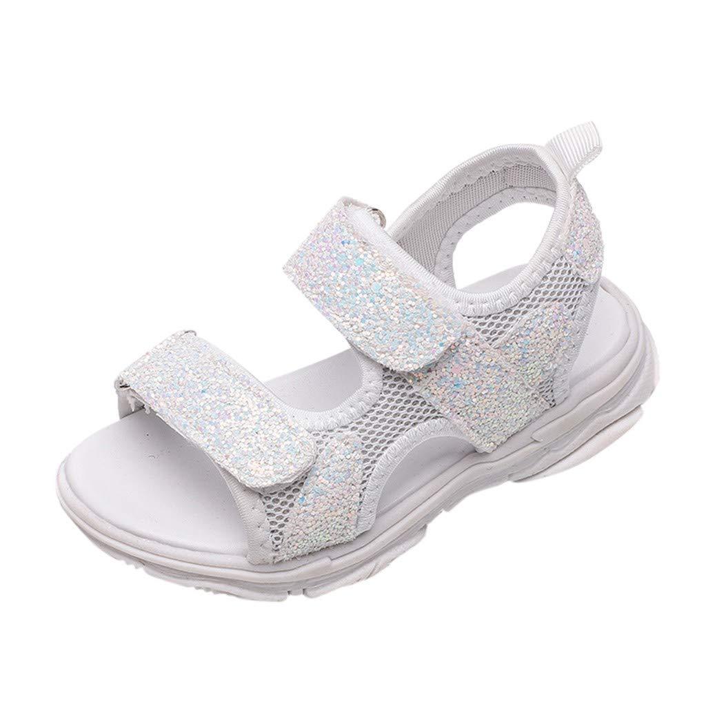 Dorical Unisex Baby M/ädchen Sandalen mit Pailletten,Atmungsaktiv Mesh Lauflernschuhe Prinzessin Schuhe Halbsandalen Soft Sole Single Sneaker Strand Sandalen 21-30 EU